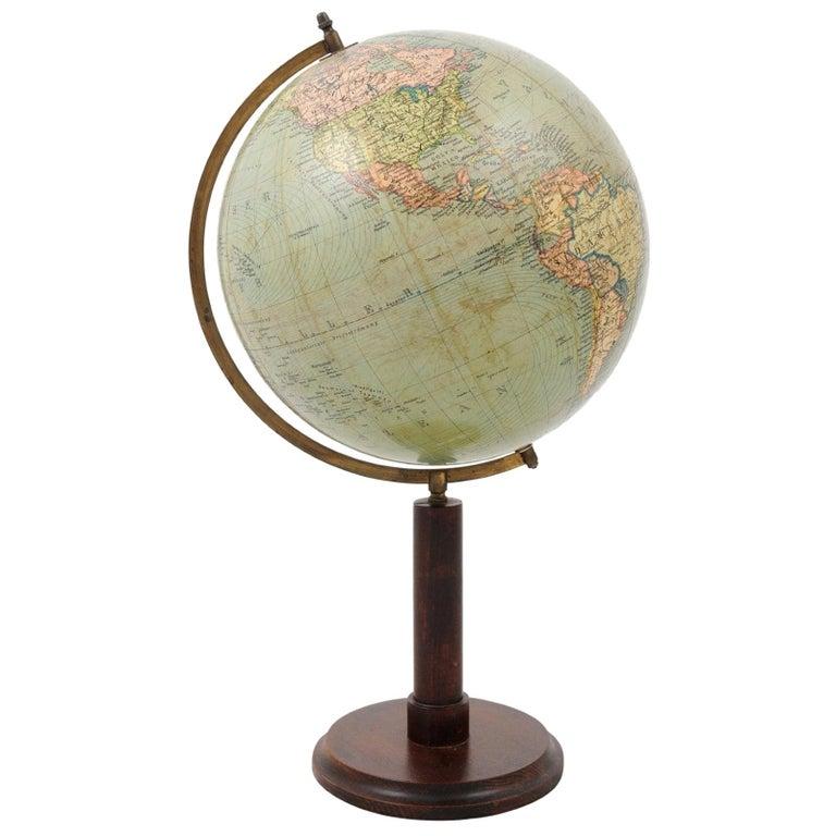 German 1890s Columbus Volksglobus Terrestrial Globe with Circular Wooden Base For Sale