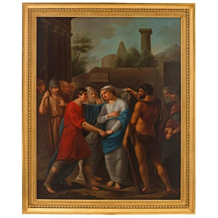 German 18th Century Neoclassical Themed Oil on Canvas For Sale
