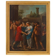 German 18th Century Neoclassical Themed Oil on Canvas