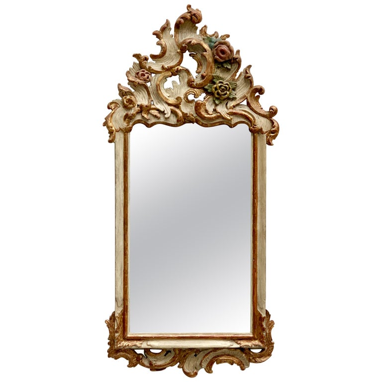 German 18th Century Rococo Mirror, Bavaria, White Painted For Sale