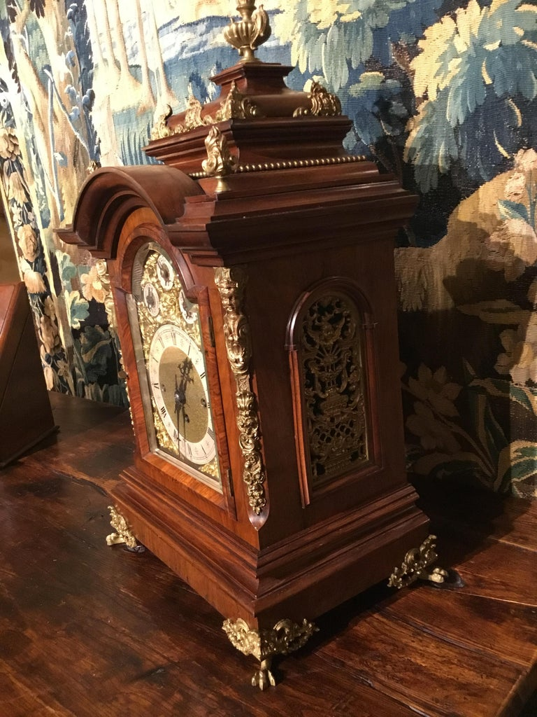 German 19th Century Bracket Clock, Walnut with Westminster Chimes on 8 Bells In Good Condition For Sale In Houston, TX