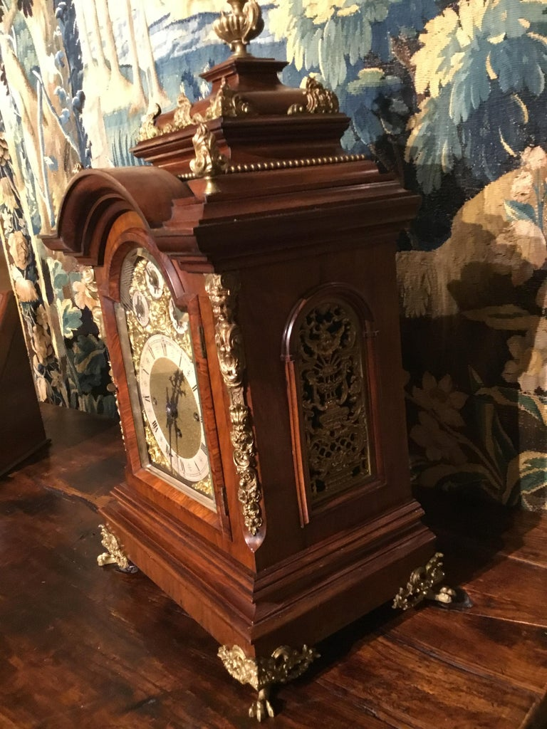 German 19th Century Bracket Clock, Walnut with Westminster Chimes on 8 Bells For Sale 1