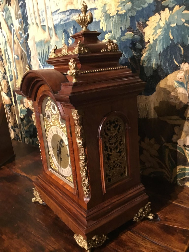 German 19th Century Bracket Clock, Walnut with Westminster Chimes on 8 Bells For Sale 2
