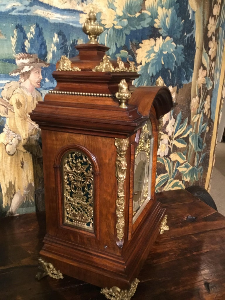 German 19th Century Bracket Clock, Walnut with Westminster Chimes on 8 Bells For Sale 4