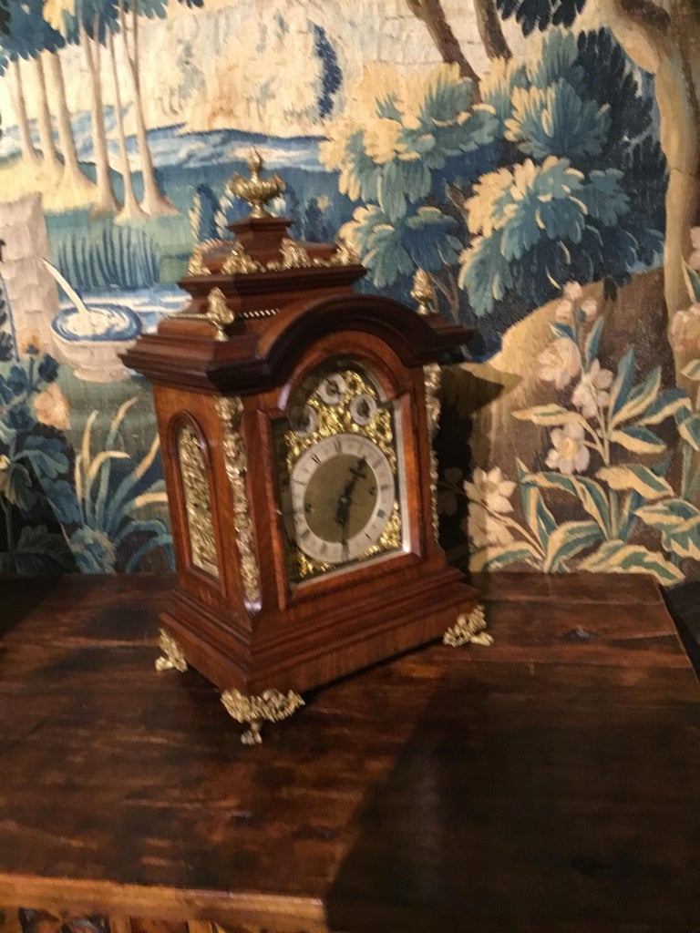 German 19th Century Bracket Clock, Walnut with Westminster Chimes on 8 Bells For Sale 5