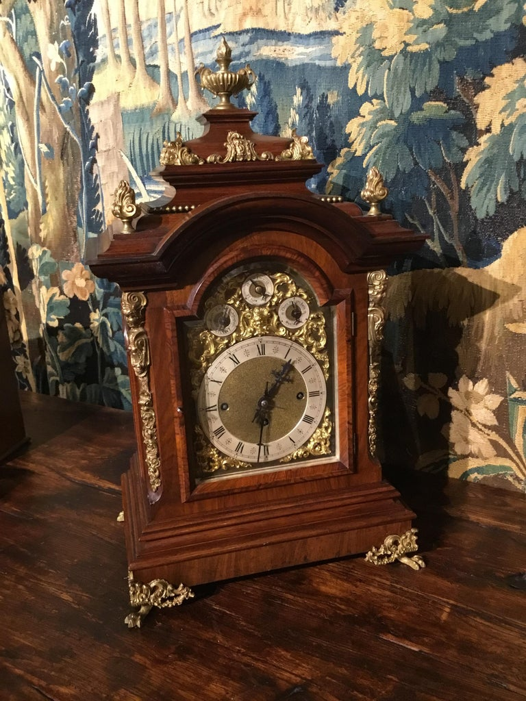 German 19th Century Bracket Clock, Walnut with Westminster Chimes on 8 Bells For Sale 6