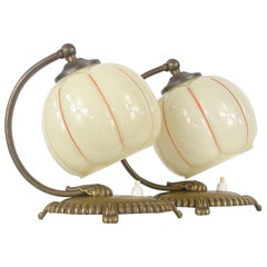 German 1920s Art Deco Bronze and Opaline Table Lamps, Set of 2