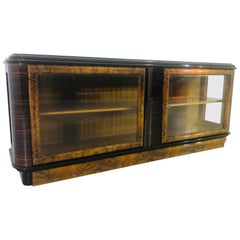 German 1920s Art Deco Lowboard with a Vitrine Compartment