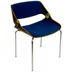 German 1960s Plywood and blue Fabric Chair by Eugen Schmidt for Soloform