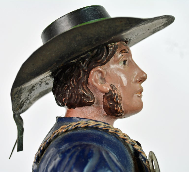 German 19th Century Black Forest Polychrome Painted Tole Figure of a Clock Maker For Sale 6