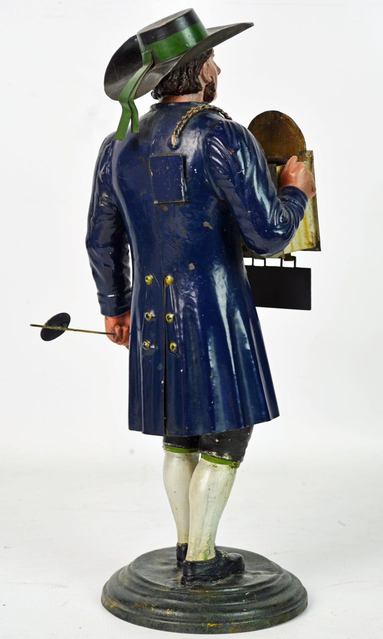 German 19th Century Black Forest Polychrome Painted Tole Figure of a Clock Maker In Good Condition For Sale In Ft. Lauderdale, FL
