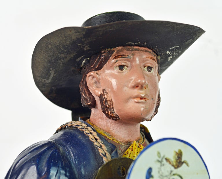 German 19th Century Black Forest Polychrome Painted Tole Figure of a Clock Maker For Sale 1