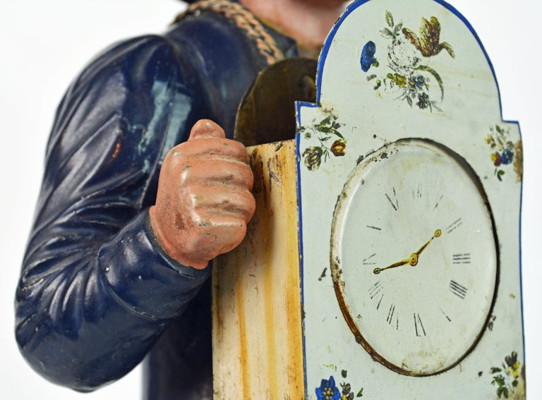German 19th Century Black Forest Polychrome Painted Tole Figure of a Clock Maker For Sale 2