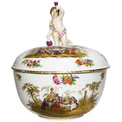 German 19th Century Berlin Porcelain Kpm Covered Bacchus Tureen Centerpiece