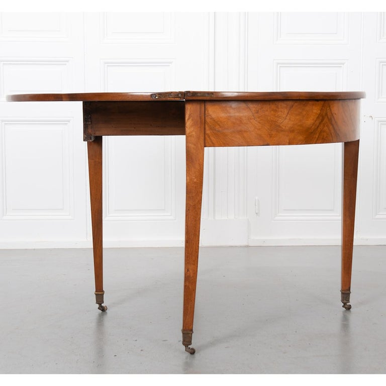 Wood German 19th Century Biedermeier-Style Demilune Table For Sale