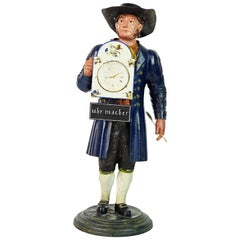 German 19th Century Black Forest Polychrome Painted Tole Figure of a Clock Maker