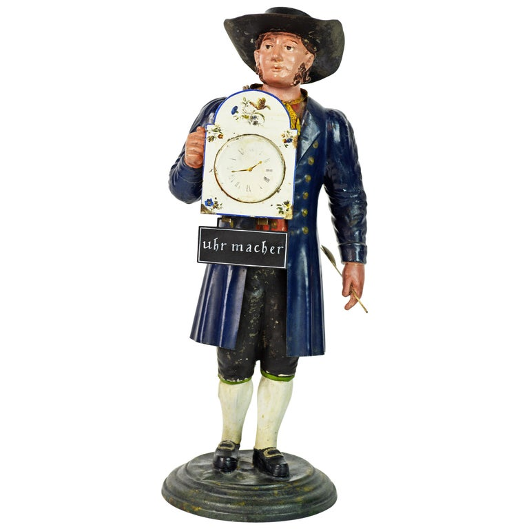 German 19th Century Black Forest Polychrome Painted Tole Figure of a Clock Maker For Sale
