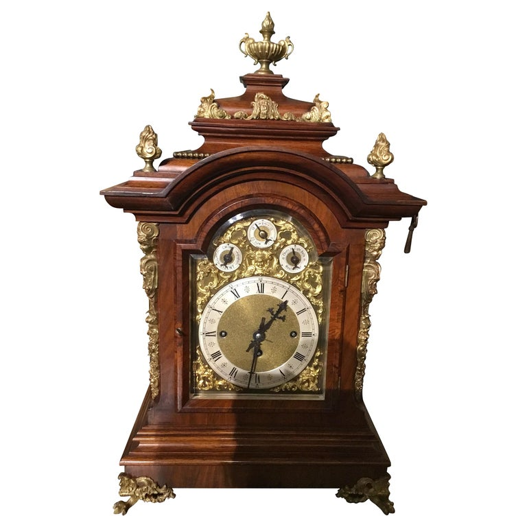 German 19th Century Bracket Clock, Walnut with Westminster Chimes on 8 Bells For Sale