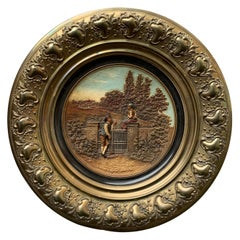 German 19th Century Brass and Earthenware Wall Plate