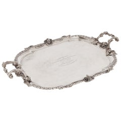 German 19th Century Solid Silver Tray with Inscription