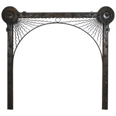 German Aesthetic Movement Fireplace Surround in Handwrought Iron