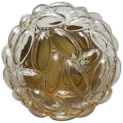 One of Three German Vintage Amber Bubble Glass Ceiling Wall Light Flush Mount