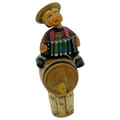 German Anri Wood Carved Figural Boy on Barrel Cork Bottle Stopper, 1920s