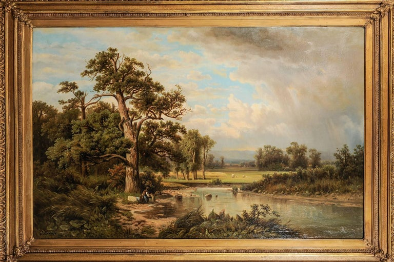 Antique large German painting with an Italian landscape - Many European painters came to Italy to paint its beautiful natural landscape, full of sun.
