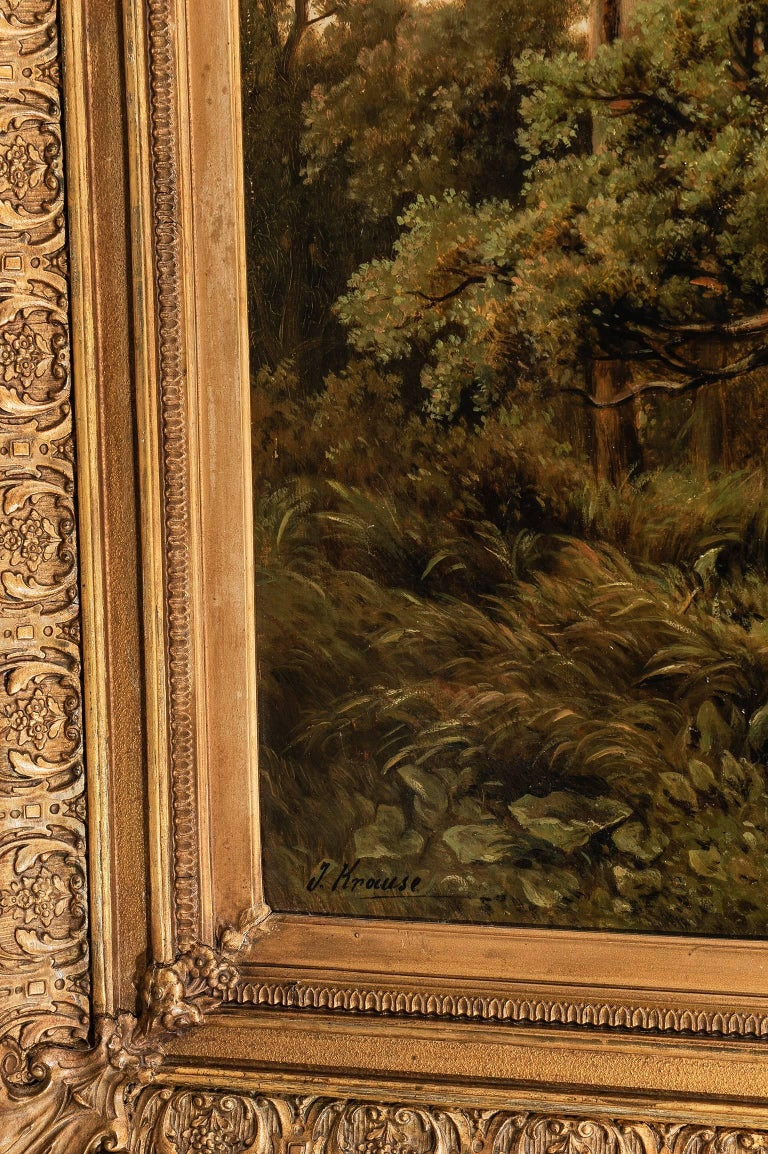 Beaux Arts  German Antique Painting with an Italian Landscape For Sale