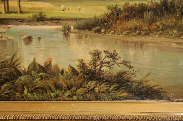 19th Century  German Antique Painting with an Italian Landscape For Sale
