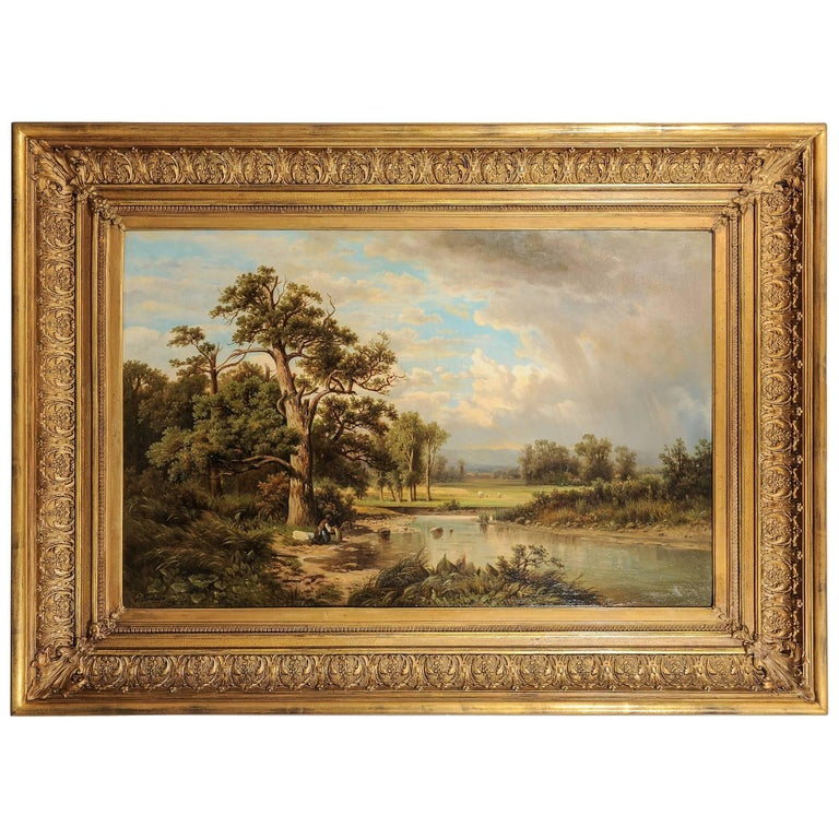 German Antique Painting with an Italian Landscape For Sale