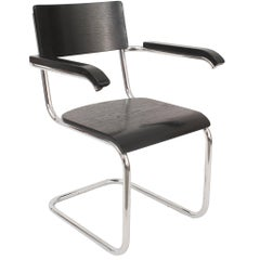 German Art Deco Black Enameled Wood Armchair