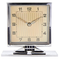 German Art Deco Chrome Desk Tilt Clock with Gold-Tone Face and Geometric Base