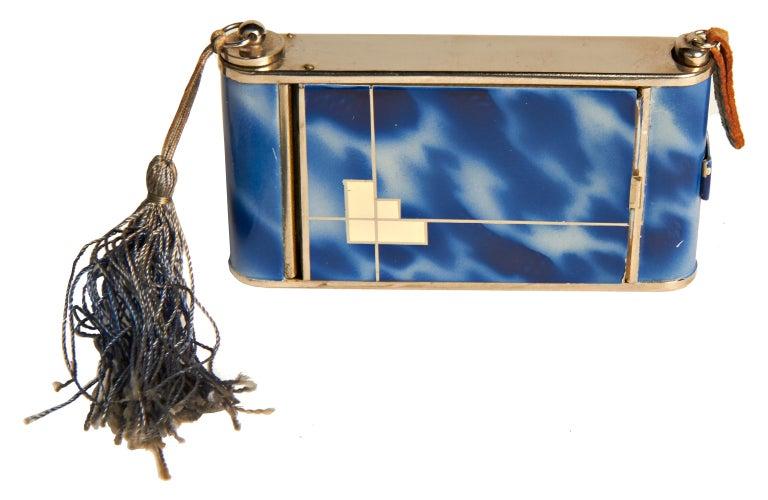 Mid-20th Century German Art Deco Chrome & Enamel Geometric Camera Compact/Lighter/Cigarette Case For Sale