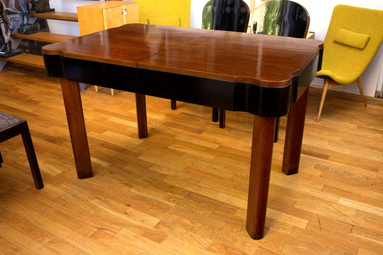 Fabric German Art Deco Dining Set in Oak, 1930s For Sale
