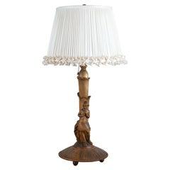 German Art Deco Figural Wooden Lamp