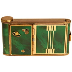 German Art Deco Green Tortoiseshell Enamel, Musical, Manicure, Camera Compact