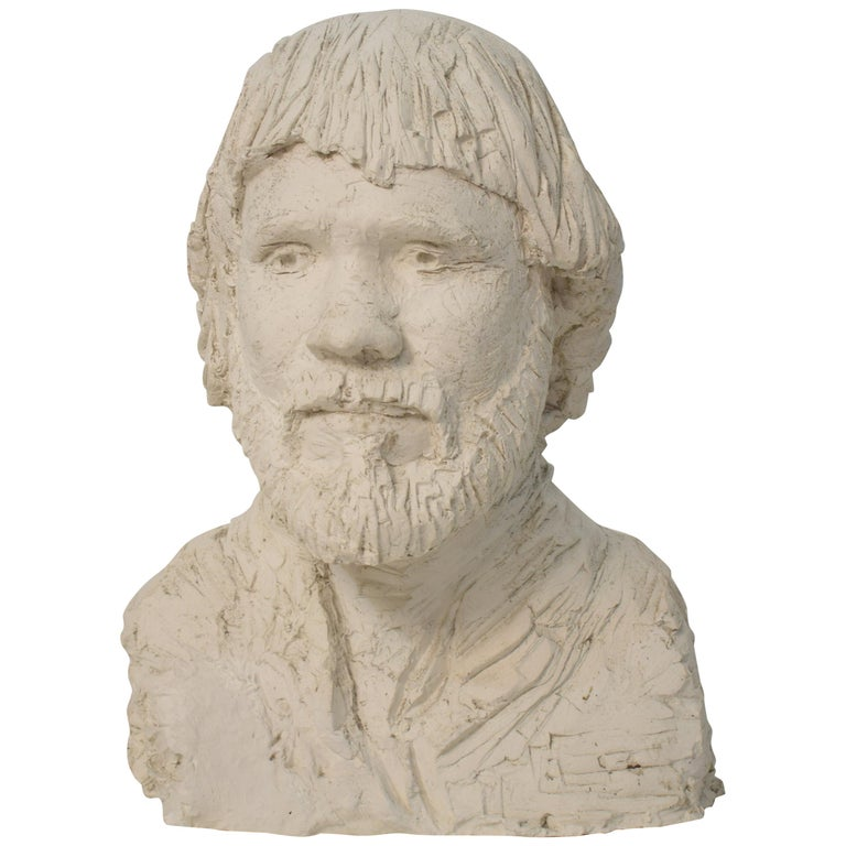 German Art Deco Plaster Bust of a Bearded Men, circa 1930 For Sale