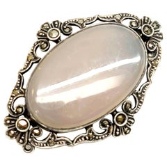 German Art Deco Sterling Silver Marcasite Brooch with Tanslucent Gray Stone