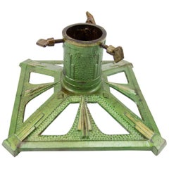 German Art Deco Style Green Cast Iron Christmas Tree Stand, 1950s