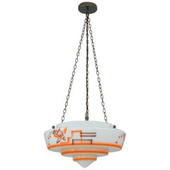 German Art Deco Suspension Light, Enameled Glass and Brass, 1930s
