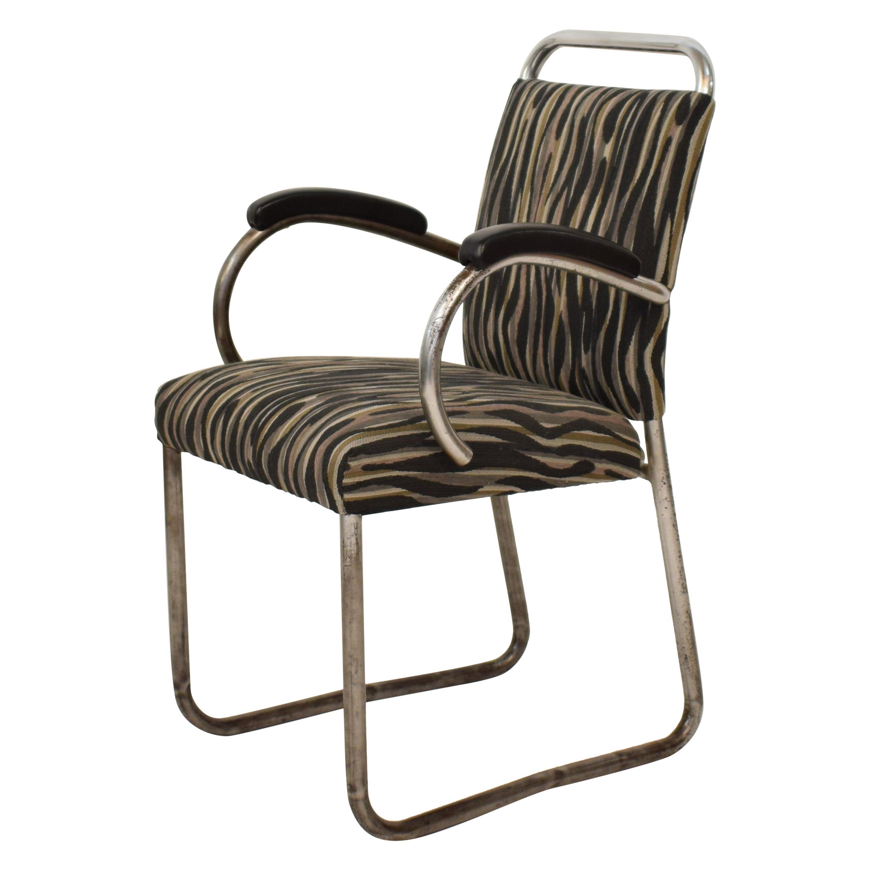 German Art Deco Tubular Steel Cantilever Armchair Desk Chair Fabric, circa 1925