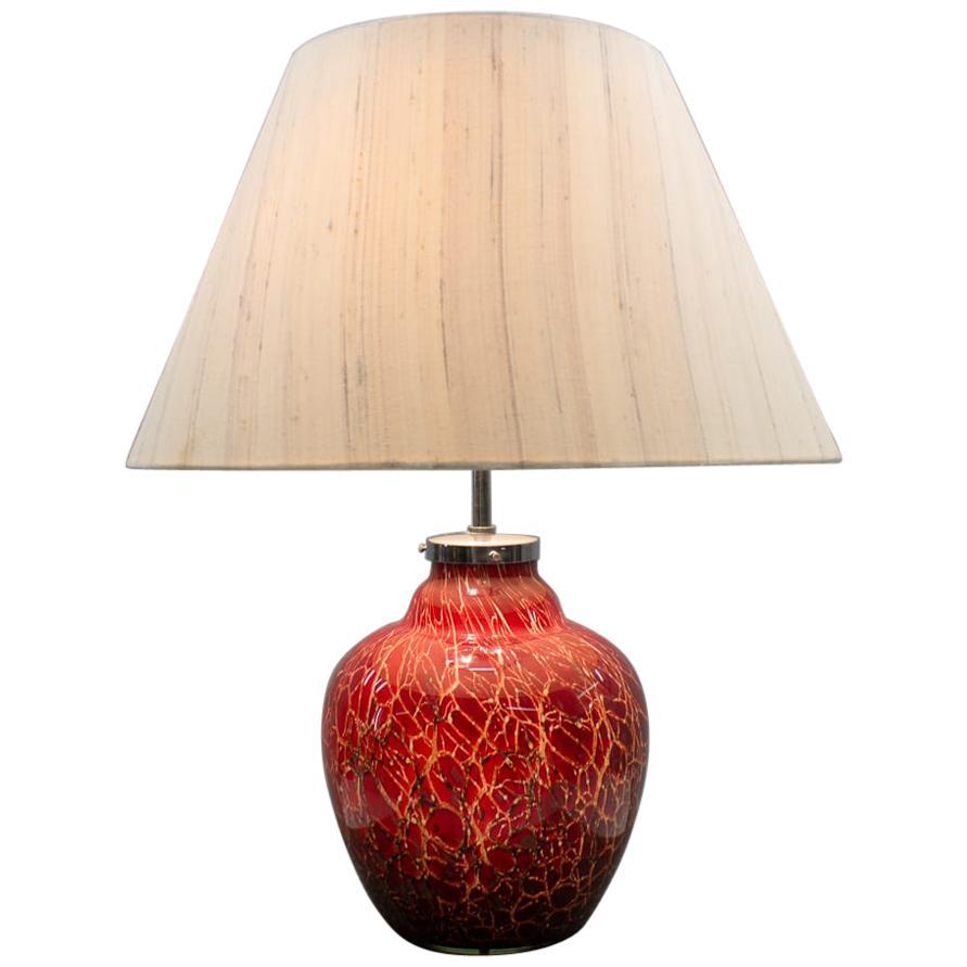German Art Deco WMF Ikora Red Glass Table Lamp, 1930s