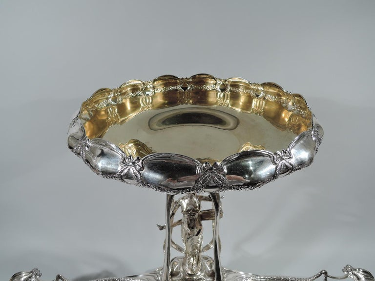19th Century German Art Nouveau Silver Centerpiece with Alluring Jungfrau For Sale