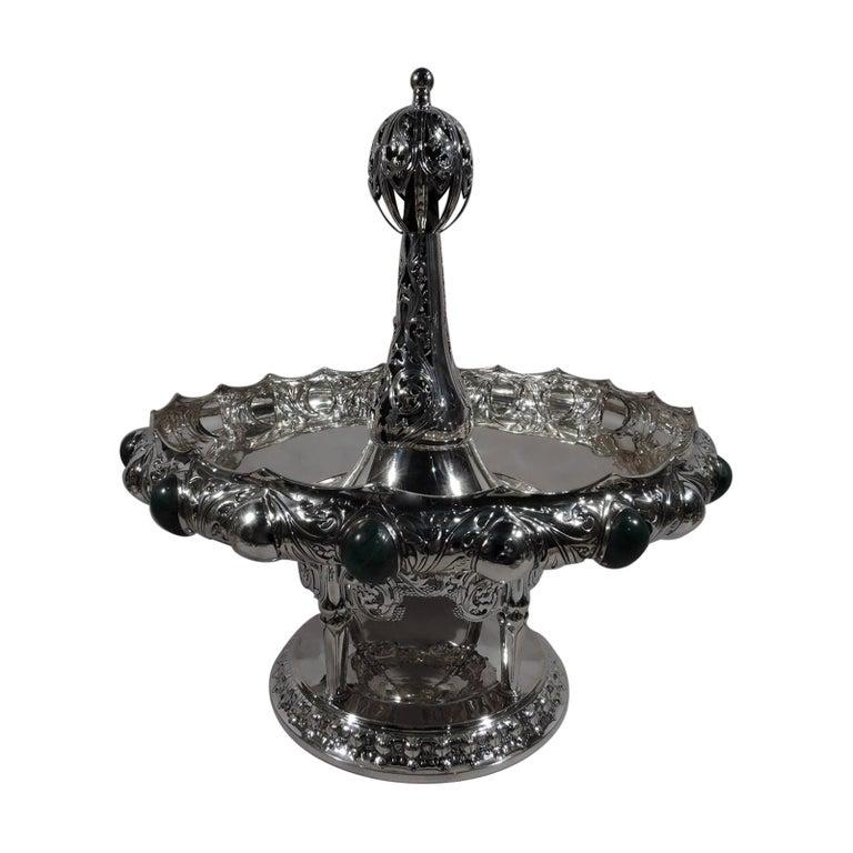 German Art Nouveau Silver and Malachite Showstopper Centerpiece For Sale