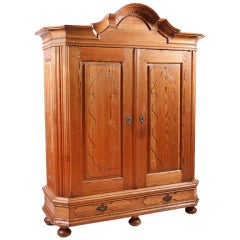 German Baroque Armoire in Kiefer Pine with Arched Bonnet, circa 1790