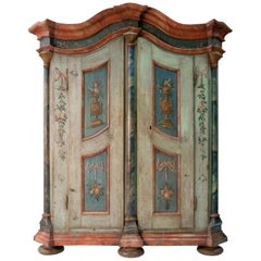 German Baroque Painted Provincial Cupboard, Dated 1799