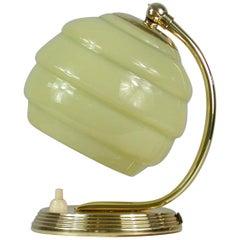 German Bauhaus Art Deco Brass and Opaline Table Lamp, 1930s