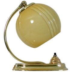 German Bauhaus Art Deco Brass and Opaline Table Lamp Sconce, 1930s