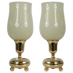 German Bauhaus Brass and Opal Torchiere Table Lamps, Set of 2, 1930s
